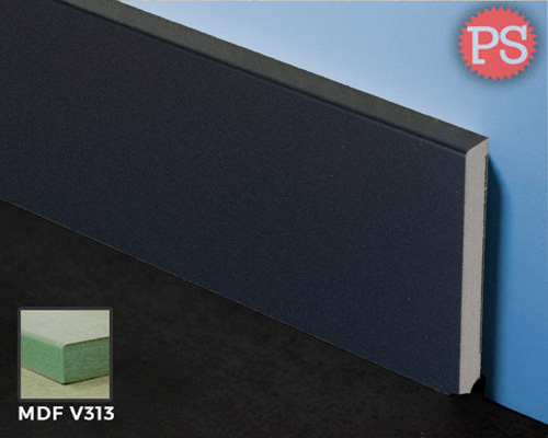zwarte gladde folie plint mdf-v313 + folie